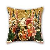 Akhy Oil Painting Blasco De Grañén - Virgin of Mosén Esperandeu De Santa Fe Throw Pillow Case 18 x 18 Inches / 50 by 50 Cm Best Choice For Chair,Couch,Dining Room,Bar,Kids Girls,husban