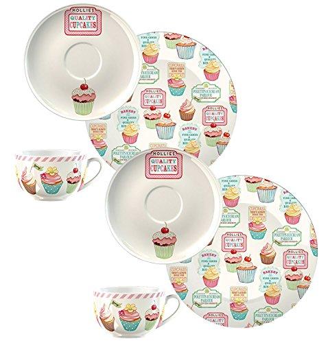 Creative Tops Retro Treats Cupcake-Design Vintage Stil 50er Jahre Geschirr und Zubehör, keramik, DOUBLE PACK Afternoon Tea Sets