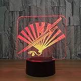Lixiaoyuzz 3D Luci Notturne Coltello 3D E Ventola Pieghevole 7 Luci A Led A Colori Per Bambini Led Tavolo Usb Lampara Lampe Baby Luce A Sospensione Regali Decor