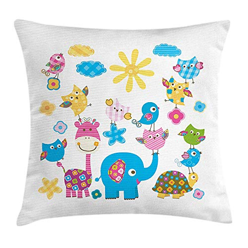 Cushion Cover, Cute Animals Cartoon Style Happy Dancing Animals Elephant Birds Owls, Decorative Square Accent Pillow Case, 18 X 18 inches, Sky Blue Pink Marigold ()