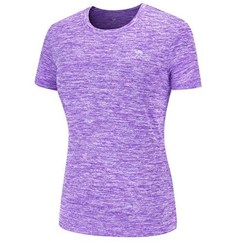 CAMEL CROWN Damen Sports T-Shirt Rundhals Kurzarm Running Fitness Shirts Atmungsaktives Laufshirt Frauen Sommer Casual Gym Shortsleeve Tops Tee Trainingsshirt