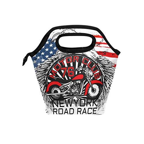 tizorax Old Motorrad Eagle american Flagge Isolierte Lunch-Tasche Outdoor Reise Picknick Tragetasche Lunch Handtaschen Tote für Damen Herren Kinder -