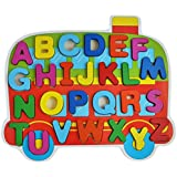 Trinkets & More Wooden Capital Letters ABC Learning Blocks Train Themed Holder Educational Toy (Multicolour)