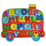 Trinkets & More - Wooden ABC Learning Blocks | Train Themed Holder | Beautifully Crafted Brightly Coloured Blocks | Educational Toys Kids 2+ Years