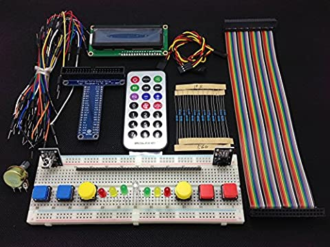 [Sintron] New 40-Pin GPIO Extension Board Starter Kit with 1602 LCD Display + Switch + DS18B20 Temperature Sensor Module + IR Remote Sensor Module + Breadboard for Raspberry Pi 1 Models A+ and B+, Pi 2 Model B, Pi 3 Model B and Pi