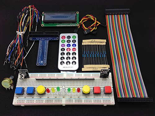 [Sintron] New 40-Pin T-Cobbler GPIO Extension Board Starter Kit with 1602 LCD Display + Switch + DS18B20 Temperature Sensor Module + IR Remote Sensor Module + Breadboard for Raspberry Pi 1 Models A+ and B+, Pi 2 Model B, Pi 3 Model B and Pi Zero -