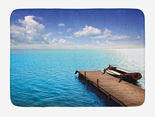 VVIANS Summer Bath Mat, Wooden Deck on Charm Lake Holiday Europe Coast Tranquil Sea View, Plush Bathroom Decor Mat with Non Slip Backing,Violet Blue Turquoise Redwood 19.7x31.5in - Redwood-deck
