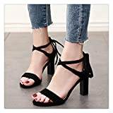 Square Heel Office Lady Flock Sandals 2018 New Korean Ankle Buckle Open Toe Fashion Sandals Women 7cm High Heels CH-B0069 1 34