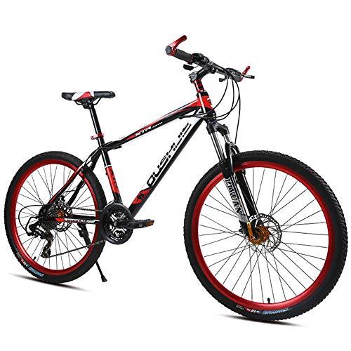 Bicicleta de montaña Unisex, 21/24/27 Velocidad Estructura de Acero con Alto Contenido de Carbono 26 Pulgadas Freno de Disco Doble Bicicleta de suspensión MTB,Red,27Speed