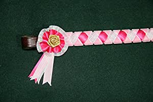 IV Horse Velvet and Sparkly Bling Ribbon Browbands and Mini Rosettes (Baby Pink Cerise & White, Small Pony)