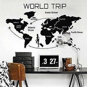 WallsUp Mundo Viaje Mapa Vinilo de Pared extraíble Vinilo Adhesivo para Pared Mapa Mapa Decor Mapa del Mundo Pared Adhesivo salón Arte decoración, Vinilo, Blanco, 33″ hx56 w