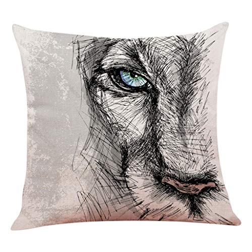 Epigeon Vintage Kissenbezug, Mode Kunst Lion Print Dekokissen Fall Home Sofa Taille Decor Kissenbezug Quadrat Pillowslip - Lion Bettbezug