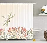 ruichangshichengjie Dragonfly Shower Curtain, Lotus Flower Field with Dragonfly Flying Oriental Blooms Artful Print, Bathroom Decor Set with Hooks, 60 x 72 inches Long, Cream Peach Coral