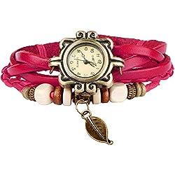 Bohemian Style [Waterproof] Retro Handmade Leather [Faux Tree Leaf Wrist Watch] Fashionable, Luxury & Stylish Weave Around [Wrap Watch Bracelet] For Women Ladies Girls. [Scratch Resistant]- Rose
