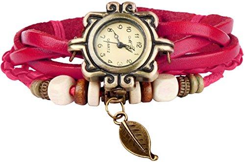 gpct-femme-retro-fait-main-imitation-feuille-montre-rose