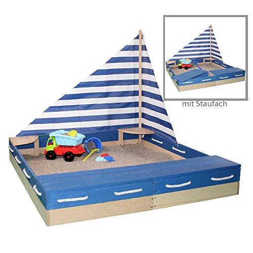 Sun Sandkasten MATROSE aus Massivholz + Segel u Abdeckplane Sandkiste Holzsandkasten by Woodinis®