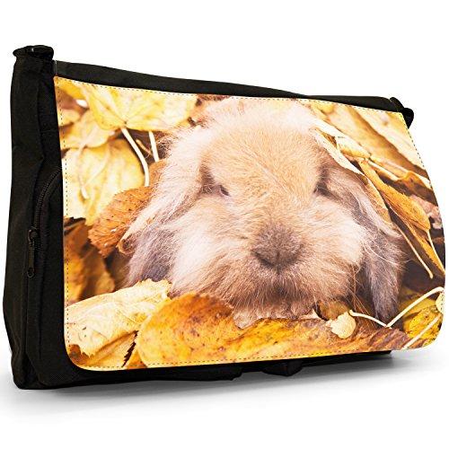 Coniglio grande borsa a tracolla Messenger Tela Nera, scuola/Borsa Per Laptop Bunny Rabbit In Leaves