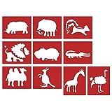 Rayher 38897000 Papier SchablonenWilde Tiere 7-11cm, 10 Verschiedene Motive, SB-Btl 10Stück