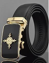AQAQ Hombre Cuero Cinturón Ancho Trabajo / Casual Todas Las Temporadas , Gold , One-Size