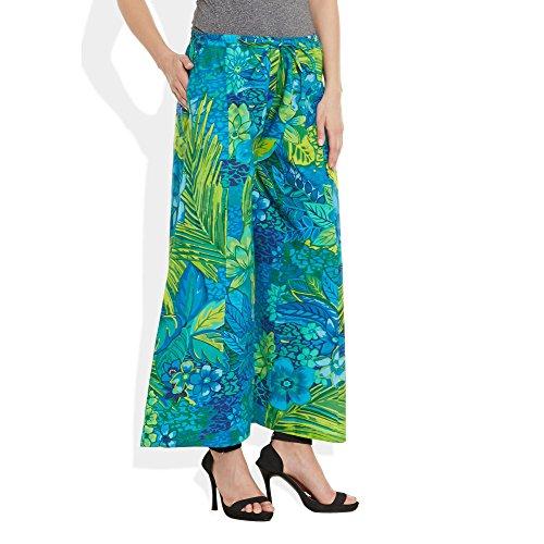 Baumwolle bedruckt Palazzo-Hose für Frauen Indian Blau Grün