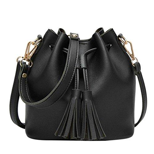 BZLine® Frauen Leder Handtasche Crossbody Schulter Quaste Eimer Tasche Umhaengetasche (Schwarz) (Eimer Tasche Handtasche)