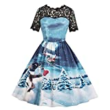 OSYARD Femme Robe de Noël Bleu Manches Court Creux Skirt Yeti Maxi Christmas Jupe de Soirée Dress 19 Style 42 Bleu-K