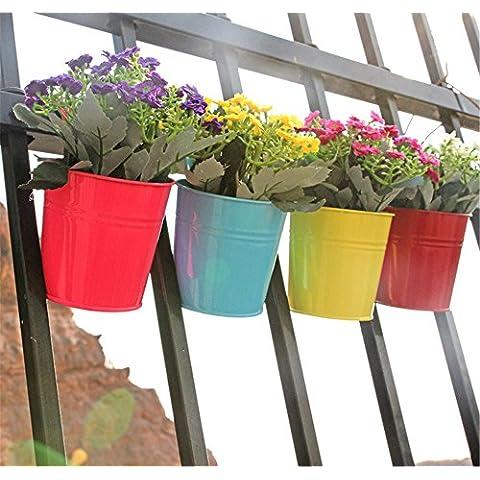 VANCORE (TM)-Secchio in metallo, in vaso a sospensione da giardino, in 8 colori assortiti 4Pcs (blue + yellow + green + pink) - Hanging Flower Vase