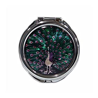 Mother of Pearl MOP Peacock Design Vanity Purse Handbag Compact Mirror