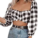 SHOBDW Square Ausschnitt Tops Frauen Plaid Rüschen Blusen Langarm Chic Shirt Rüschen (L, Schwarz)