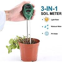Lypulight Jardin Hygromètre 3 en 1 Testeur de Sol Kits pour Humidité, PH, Lumière du Soleil ( sans batterie Nécessaire )