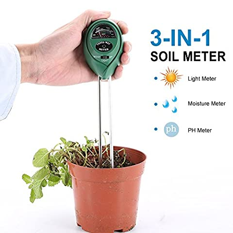 LYPULIGHT 3 in 1 Soil Tester Moisture Meter, Light and PH Acidity Tester, Great Plant Soil Tester Kit for Garden, Farm, Lawn, Indoor & Outdoor (No Battery needed) Easy Read
