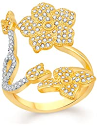 VK Jewels Splendid Flower Gold And Rhodium Plated Alloy CZ American Diamond Adjustable Ring For Women [VKFR2717G]