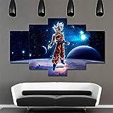 CXDM Toile Mur Art Pictures Salon décor Cadre 5 pièces Dessin animé Dragon Ball Z Goku peintures HD estampes Super Saiyan Poster,withframed,size30