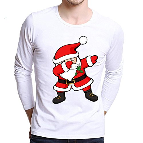OverDose Herren Plus Size Christmas Printing Tees Shirt Long Sleeve T Shirt Blouse Weihnachten Tops Oberteile(S,B-Weiß) (Sleeve Cap V-neck Top)