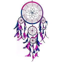 Atrapasueños ~ tradicional hecha a mano azul, rosa y púrpura 22cm diámetro 60cm largo.
