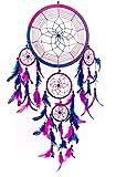 Traumfänger  handgemachte traditionelle Royal-blau, Rosa und lila, 22 cm Durchmesser und 60cm lang!