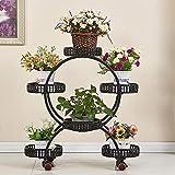 Europäische Schmiedeeisen Blume Standfußboden Typ Multi-Layer-Anlage Display-Stand Balkon Wohnzimmer mit Bremsscheibe Blumentopf Halter (Farbe : Black)