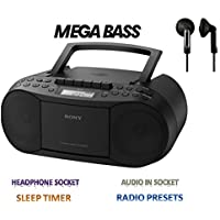 SONY CFD-S70/BC  CD and Tape (Recorder)  with Radio- With Headphone Socket/Audio in Socket / Sleep Timer  as well as AM/FM with 3 Presets Digital Display Radio - BLACK / Includes Maxell H/P