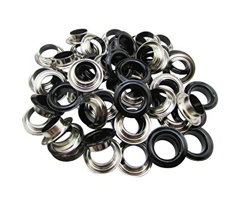 Amanaote 10mm Innen Loch Durchmesser Glasur schwarz Tüllen Ösen mit Waschmaschine selbst Unterstützung Stück 100Sets