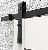 AiHom 195cm Rustic Black Sliding Rail Barn Door Hardware Kit With One side Soft Close Option sliding door track system