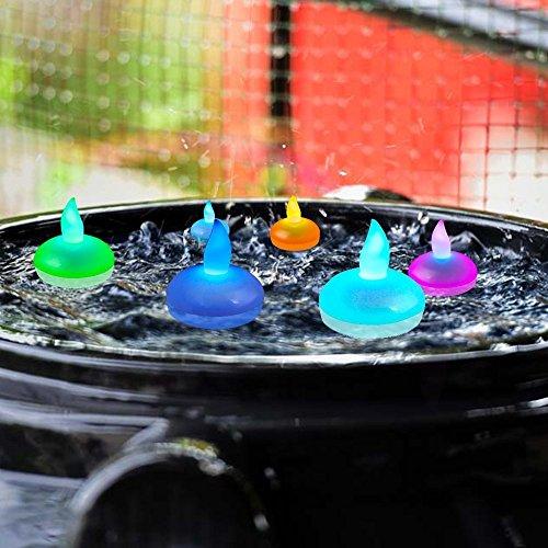 Itian Conjunto de 12 Flotantes, Velas LED, Luces Coloridas Cambio del Estado de ánimo, a Prueba de Agua y sin Llama, para la Boda Decoración de Navidad