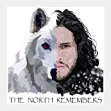 #5: AnanyaDesigns Wall Poster Jon Snow and Ghost captioned Square | Artist: Armaan Sandhu