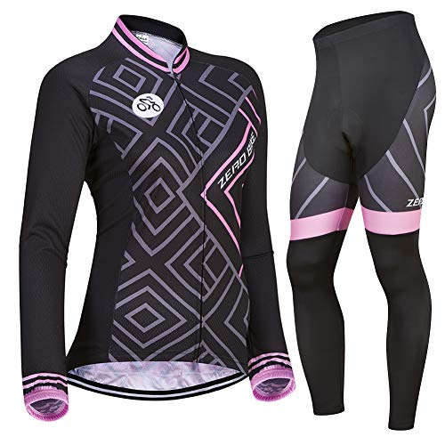 Zerobike® breathable long-sleeved 3d gel padded bicycle bike cycling jersey women's clothing (s)