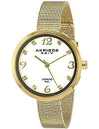 Akribos XXIV Reloj de cuarzo para mujer con blanco esfera analógica pantalla y oro pulsera de acero inoxidable ak875yg