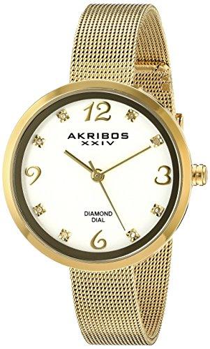 Akribos Xxiv donna AK875YG giallo gold-tone diamond-accented orologio