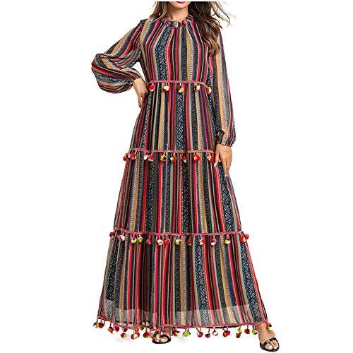 QINJLI Damenkleid, Casual Long Sleeve Lose Balls Mehrschichtige Falten Muslimische Roben Stillende Kleider -