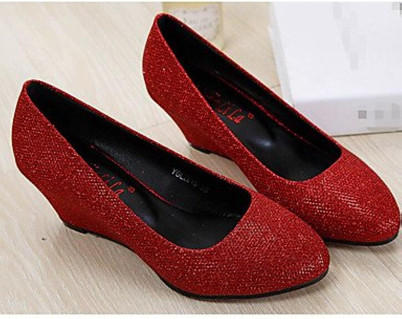 Zormey Women'S Boots Winter Mary Jane Pu Casual Chunky Heel Red Us4-4.5 / Eu34 / Uk2-2.5 / Cn33