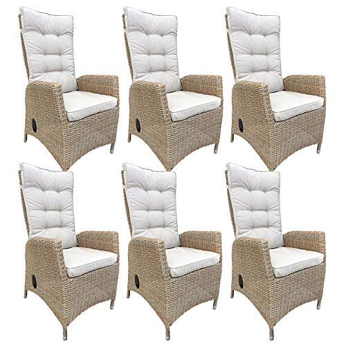 dasmöbelwerk 6er Set Polyrattan Hochlehner mit Sitzpolstern Rattan Stuhl Relax Sessel Gartenmöbel...