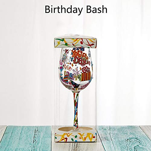 Casavidas GIEMZA Personality Weinkelch, bemalt, 1 x Geburtstags-Bash-Werkzeug, Glas-Bar und Gläser,...