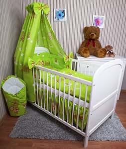 baby bettw sche 5tlg bettset mit nestchen kinderbettw sche himmel 100x135cm neu milk gr n. Black Bedroom Furniture Sets. Home Design Ideas